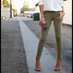 Paige Edgemont Fatigue Green Moto Skinny Jeans 30
